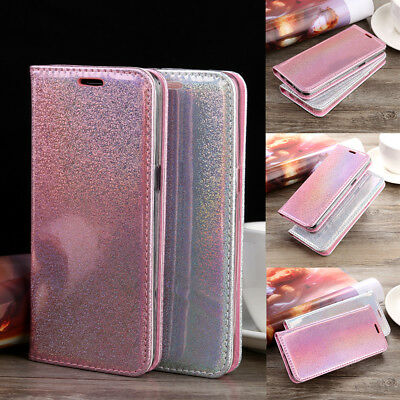 Glossy Glitter Magnetic Flip Leather Wallet Case Card Slot For iPhone Samsung