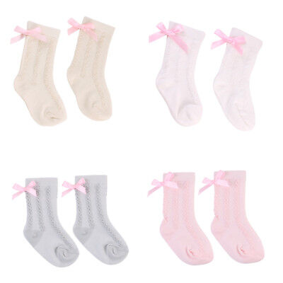 New Cute Baby Girl Toddler Socks Knitted Cotton Lace Knee High Kid Bowknot Socks