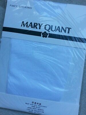 Vintage Mary Quant Fancy Stocking Charleston Hold Ups Colour White Size Small