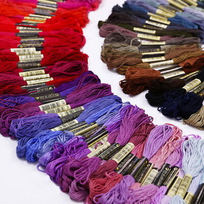 100% Cotton Embroidery Thread Stitch Cross Mixed Color Floss Sewing Skeins X50