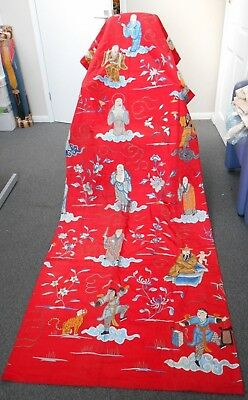 "Antique Chinese Hand Embroidered Silk Wall Hanging, 37"" x 99"""