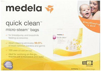 Medela Quick Clean Micro Steam Bags #87024 5 count NEW BPA FREE  100 Uses Total