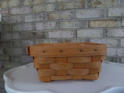 """Longaberger 1995 Small 6 1/2"""" Square  Basket & Plastic Liner - Great Cond."""