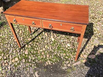 Antique Mahogany Two Drawer Writting Desk With Dummy Drawers To The Back Hall