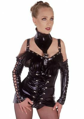 Demask Latex Rubber Fetish Lace Up Gloves And Cut Away Knix Knickers
