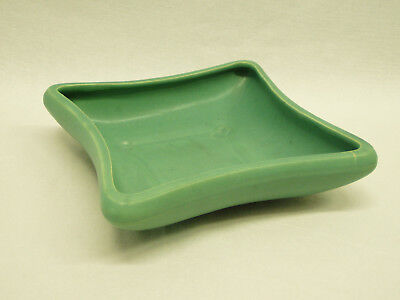 "Vintage Brush USA Pottery Bulb Planter Tray 08 matte turquoise blue 8.25"" square"