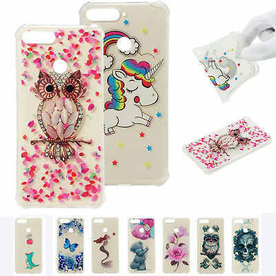 Shockproof Thin Cute Bear Owl Patterned Clear Soft Case Cover For Huawei Y6 2018