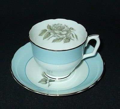 Antique Tea Cup Set Crown STAFFORDSHIRE Gray Rose Blossoms Gold Teacup