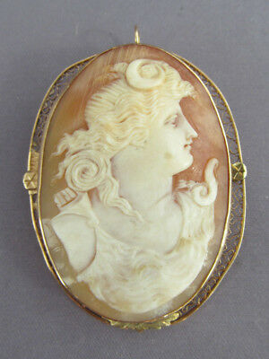 Antique Victorian 10K Gold Carved Oval Portrait Cameo Pendant Brooch Pin Combo