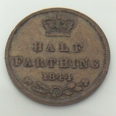 1844 United Kingdom UK GB Half 1/2 Farthing Circulated British Coin F868
