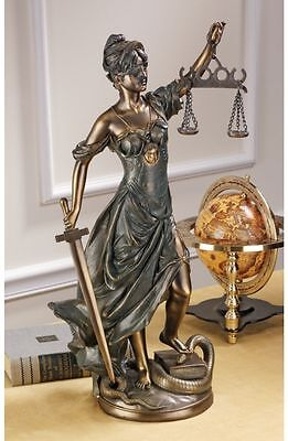 """22"""" Greek Goddess Scales of Justice Bronze Finish Sculpture Home Gallery Statue"""