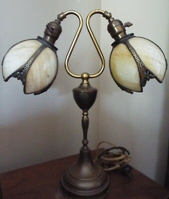 Antique Caramel Marble Slag Glass Six Panel Tulip Lamp Shade Table Lamp