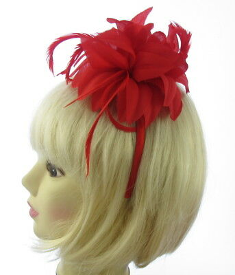 bright red flower feather fascinator headband for weddings, races ,prom