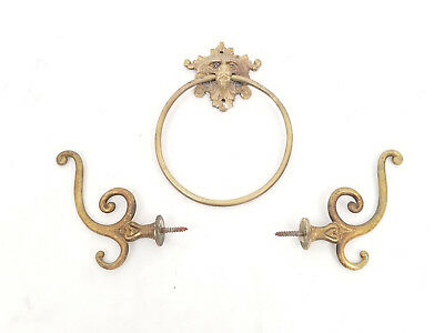"Vintage Brass 5"" Towel Ring Lions Head w/ Two Brass Art Nouveau Coat Hooks"