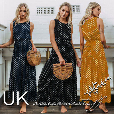 UK Womens Polkadot Long Maxi Dress Ladie Evening Party Summer Sundress Size 6-16