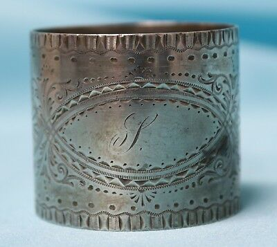Late 1800's Antique Sterling Silver Engraved Napkin Ring! Nice!