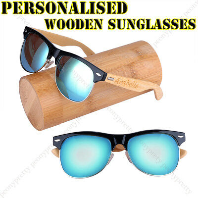 Personalised Engraving Bamboo UV400 Lens Wooden Sunglasses Groomsmen Gift b