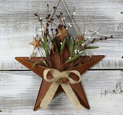 "Primitive Tin Star Wall Hanging Basket Pip Berries, 12"" & 15"" Farmhouse Decor"
