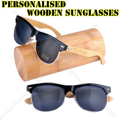 Personalised Engraving Bamboo Wood UV400 Lenses Wooden Sunglasses Groomsmen Gift