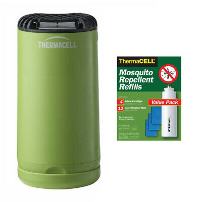 Thermacell Patio Shield Mosquito Repeller (Green) and 48-Hour R-4 Refill Pack