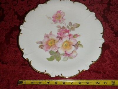 "Vintage E&R Golden Crown ""Wild Rose"" porcelain plate"
