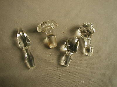 4 Vintage Early American Pattern Glass Bottle Stoppers - All Different