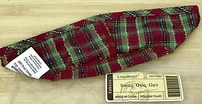 Longaberger Holiday Plaid Liner for Small Oval Gift Basket
