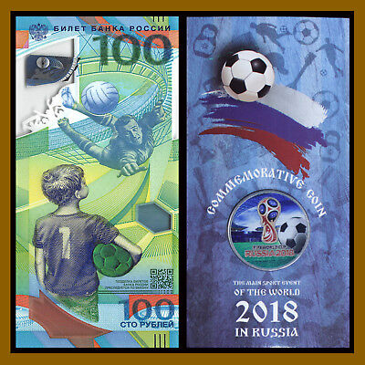 Russia 100 Rubles + 1st Colored Coin in Blister, 2018 FIFA World Cup Soccer, R10