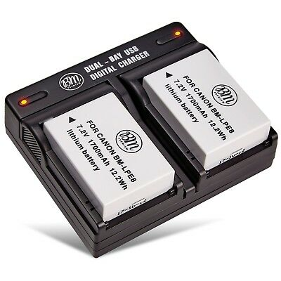 BM Premium Battery (2-Pack) and Dual Charger for Canon LP-E8