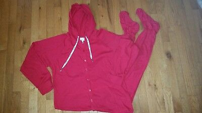 Red *Jumpin Jammerz Footed Pajamas Adult Sz Small * Hooded *100% Cotton 1 Piece