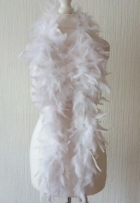 BNWT White Party Feather Boa Hen Night Flapper 1920's Book Day New