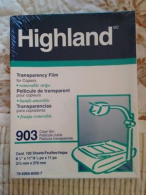 Highland 903 Transparency Film New Box With 100 Sheets