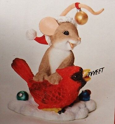 Charming Tails SENDING YOU A MERRY CHRISTMAS TWEET Mouse Cardinal NEW IN BOX