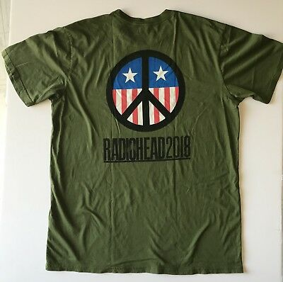 Radiohead 2018 t shirt tour concert xxl army green stars and stripes new
