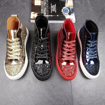 Fall Mens Hip Hop High Top Bling Sequin Board Shoes Sneakers Athletic Sport 2018