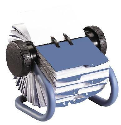 Open Rotary Business Card File With Card Sleeves And 24 Guides Easy Grip Knobs