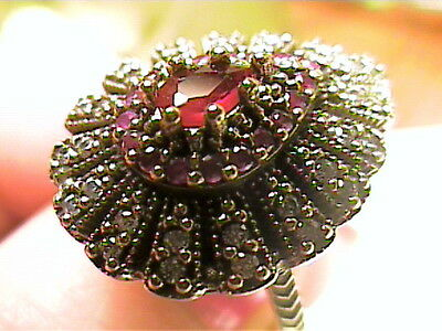 medieval RING 8 deep ruby SAPPHIRE FILIGREE silver OLD sterling 925 vintage cock