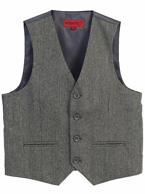 Boys Formal Vest Suits Checkered Toddler Kids Gray Black Navy Boy Size 2T-20 New