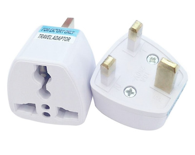 Euro European Converter EU 2 to 3 Pin Plug UK Travel Mains Power Adapter. 0296