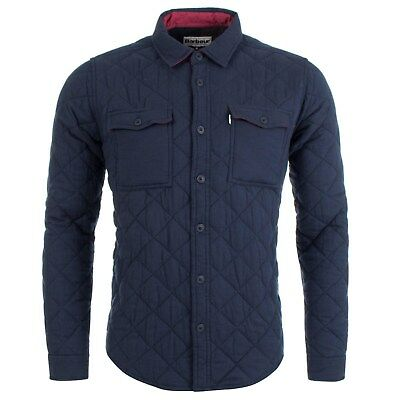 BARBOUR Heritage Cotton Diamond Quilted Blyth Overshirt/Jacket Navy Blue sz XXL