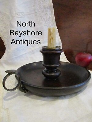 Antique 1800s English Oak Wooden Turned Candle Holder or Chamber Stick