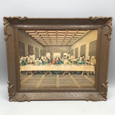 Vintage The Last Supper Scene Plastic Frame Wall Hanging
