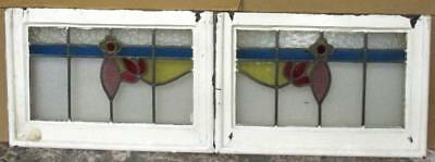 "PAIR OF OLD ENGLISH STAINED GLASS WINDOWS Very Nice Florals 23.75"" x 16"""