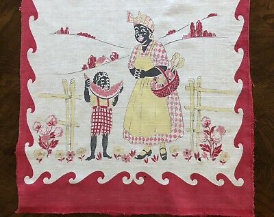 Vintage Printed BLACK AMERICANA TABLE RUNNER Mammy Red White 1940's-50s
