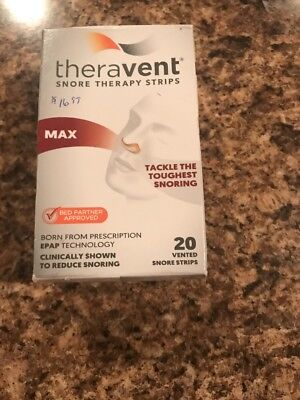 New, Theravent Snore Therapy Strips Exp 5/2020