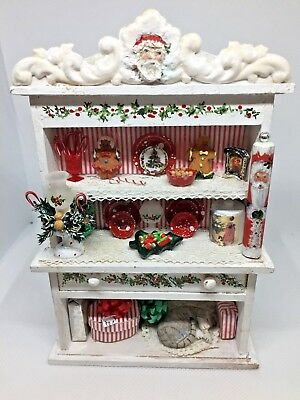 Dollhouse Miniature Artist M.Parus Hand Painted Filled Christmas Time Hutch 1:12
