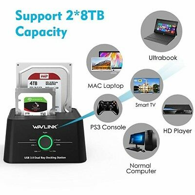 WAVLINK USB 3.0 to SATA (5Gbps) Dual-Bay Hard Drive Docking Station For 2.5 inch