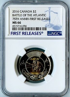 2016 Canada Ngc First Releases Ms66 75Th Anniv.-Battle Of The Atlantic $2!