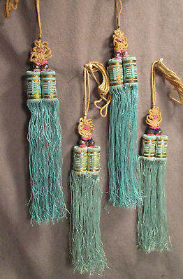 Antique - Vintage - Chinese Double Tassels & Lucky Knots - 2 Sets in Aqua