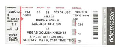 San Jose Sharks Vegas Golden Knights Round 2 Game 6 Hard Ticket EXTREMELY RARE!!